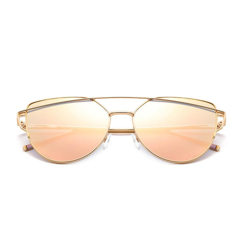 SolarUV Cat Eye Mirrored Flat Lenses Fashion Metal Frame Women Sunglasses