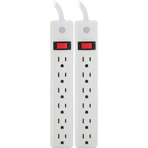 GE 14087 6-Outlet Power Strips, 2 pk - Peazz.com