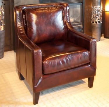 Element Home Furnishing JAV-SC-SADD-1 Java Top Grain Leather Accent Chair in Saddle