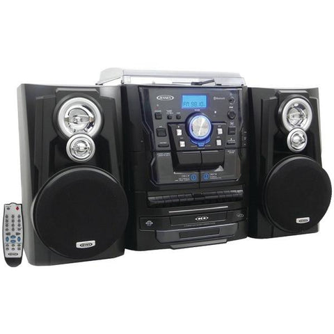 Jensen JMC-1250 Bluetooth 3-Speed Stereo Turntable Music System with 3-CD Changer & Dual Cassette Deck - Peazz.com
