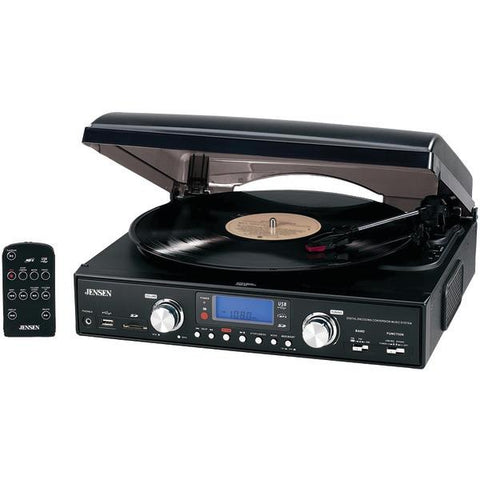 Jensen JTA-460 3-Speed Stereo Turntable with MP3 Encoding System - Peazz.com