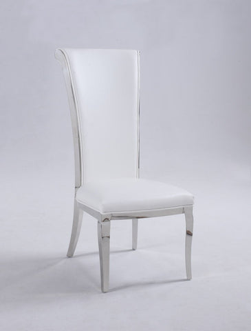 Chintaly JOY-SC-WHT Tall rolled back chair ( Set of 2 )