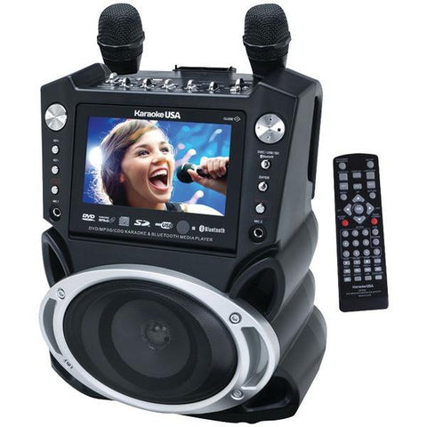"Karaoke USA GF830 Karaoke System with 7"" TFT Color Screen, Record Function & Bluetooth - Peazz.com"