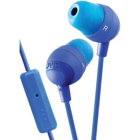 JVC HAFR37A Marshmallow Inner-Ear Earbuds with Microphone & Remote (Blue) - Peazz.com