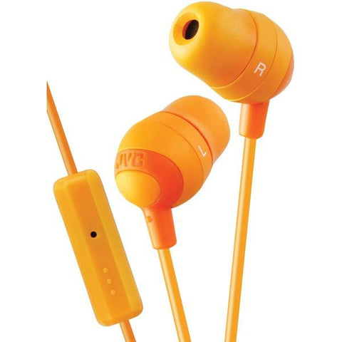 JVC HAFR37D Marshmallow Inner-Ear Earbuds with Microphone & Remote (Orange) - Peazz.com