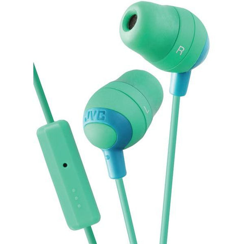 JVC HAFR37G Marshmallow Inner-Ear Earbuds with Microphone & Remote (Green) - Peazz.com