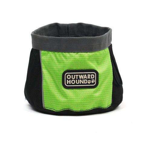Outward Hound 2483 Port-A-Bowl Collapsible Travel Dog Food/Water Bowl, Large, Green - Peazz.com