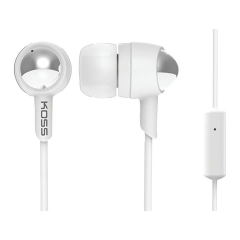 KOSS 183814 KEB30 Passive Noise-Isolating In-Ear Earbuds with Microphone (White) - Peazz.com