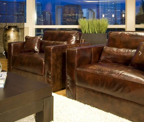 Element Home Furnishing LAG-2PC-SC-SC-SADD-1 Laguna 2-Piece Set Top Grain Leather Accent Chairs in Saddle