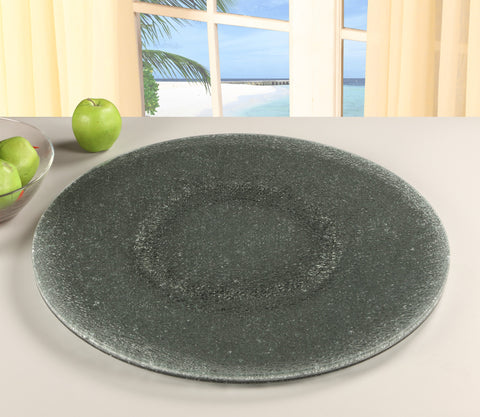 Chintaly LAZY-SUSAN-24SG Crackled Glass Lazy Susan 24""