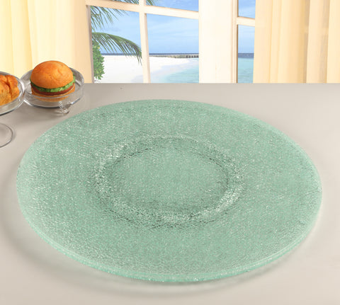 Chintaly LAZY-SUSAN-24S Crackled Glass Lazy Susan 24""