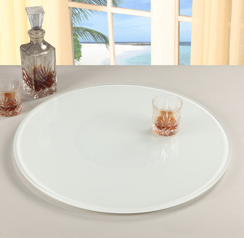 "Chintaly LAZY-SUSAN-24-WHT 24"" Round Glass Rotating Tray"