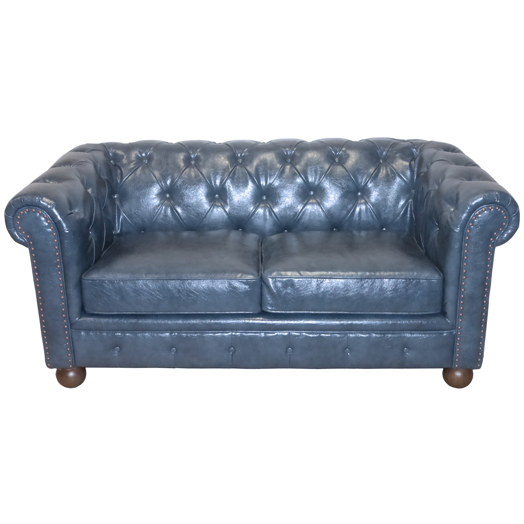 Armen Living Antique Blue Bonded Leather Loveseat Winston
