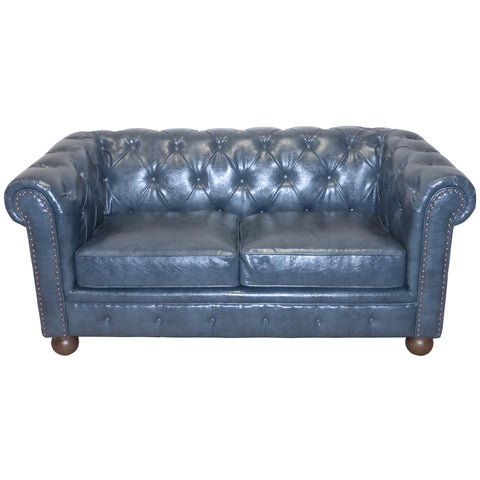 Armen Living LC10602ATBL Winston Antique Blue Bonded Leather Loveseat