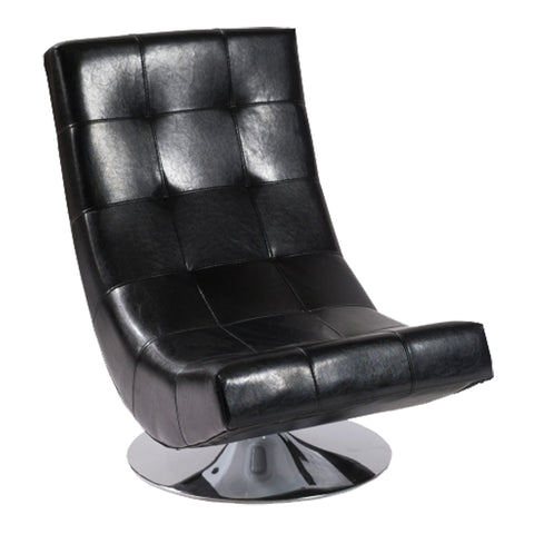 Armen Living LC3634CLBL Mario Swivel Chair Black Bonded Leather