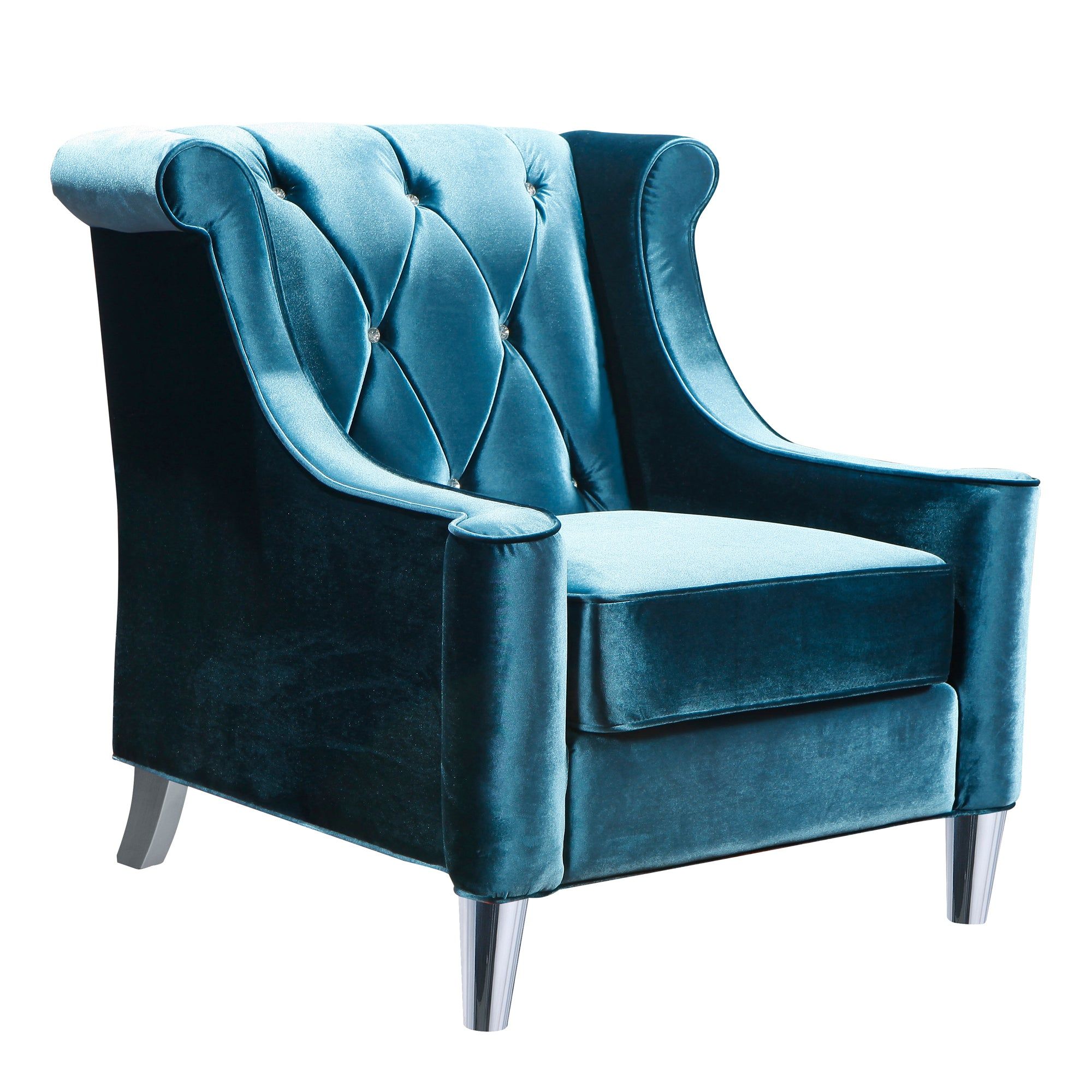 Armen Living Chair Blue Velvet Crystal Buttons Barrister