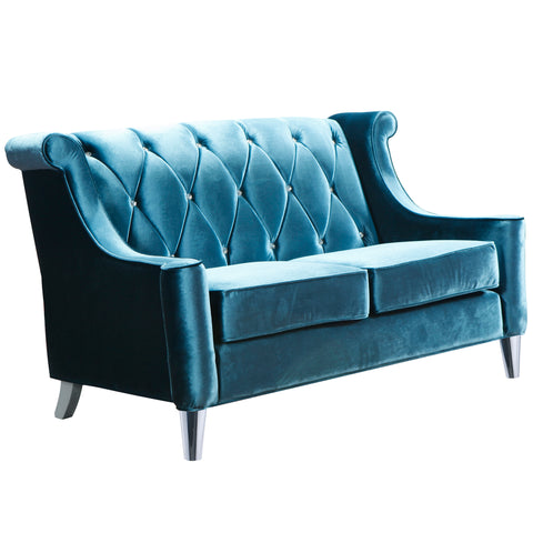 Armen Living LC8442BLUE Barrister Loveseat In Blue Velvet With Crystal Buttons