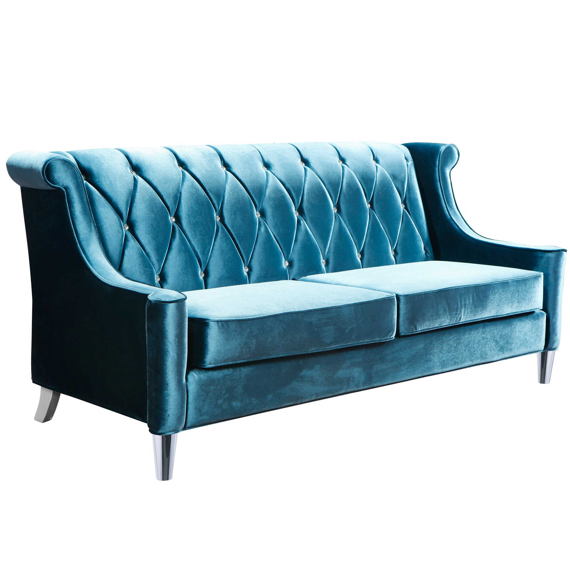 Sofa Blue Velvet Crystal Buttons Barrister 1370 Product Photo
