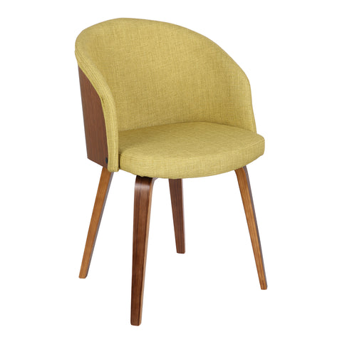 Armen Living LCALCHWAGREEN Alpine Mid-Century Dining Chair in Green Fabric with Walnut Wood