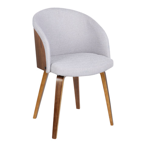 Armen Living LCALCHWAGREY Alpine Mid-Century Dining Chair in Gray Fabric with Walnut Wood
