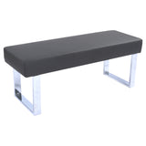 Armen Living LCAMBEGRBCH Amanda Contemporary Dining Bench in Gray Faux Leather and Chrome Finish
