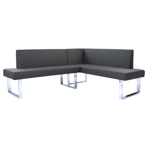 Armen Living LCAMCOGRSF Amanda Contemporary Nook Corner Dining Bench in Gray Faux Leather and Chrome Finish