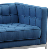 Armen Living LCAN2BLUE Andre Contemporary Loveseat in Brushed Stainless Steel and Blue Fabric