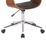 Armen Living LCBVOFCHWABL Bellevue Mid-Century Office Chair in Chrome Finish with Black Faux Leather and Walnut Veneer