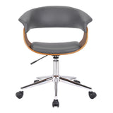 Armen Living LCBVOFCHWAGR Bellevue Mid-Century Office Chair in Chrome Finish with Grey Faux Leather and Walnut Veneer