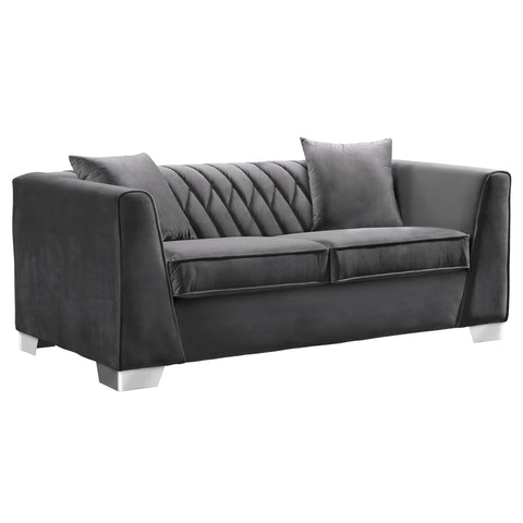 Armen Living LCCM2GR Cambridge Contemporary Loveseat in Brushed Stainless Steel and Dark Grey Velvet