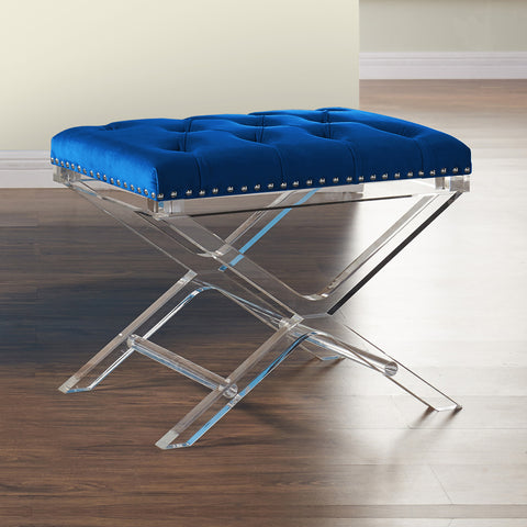 Armen Living LCCOOTBLUE Cody Modern and Contemporary Tufted Ottoman in Blue Velvet with Acrylic Legs