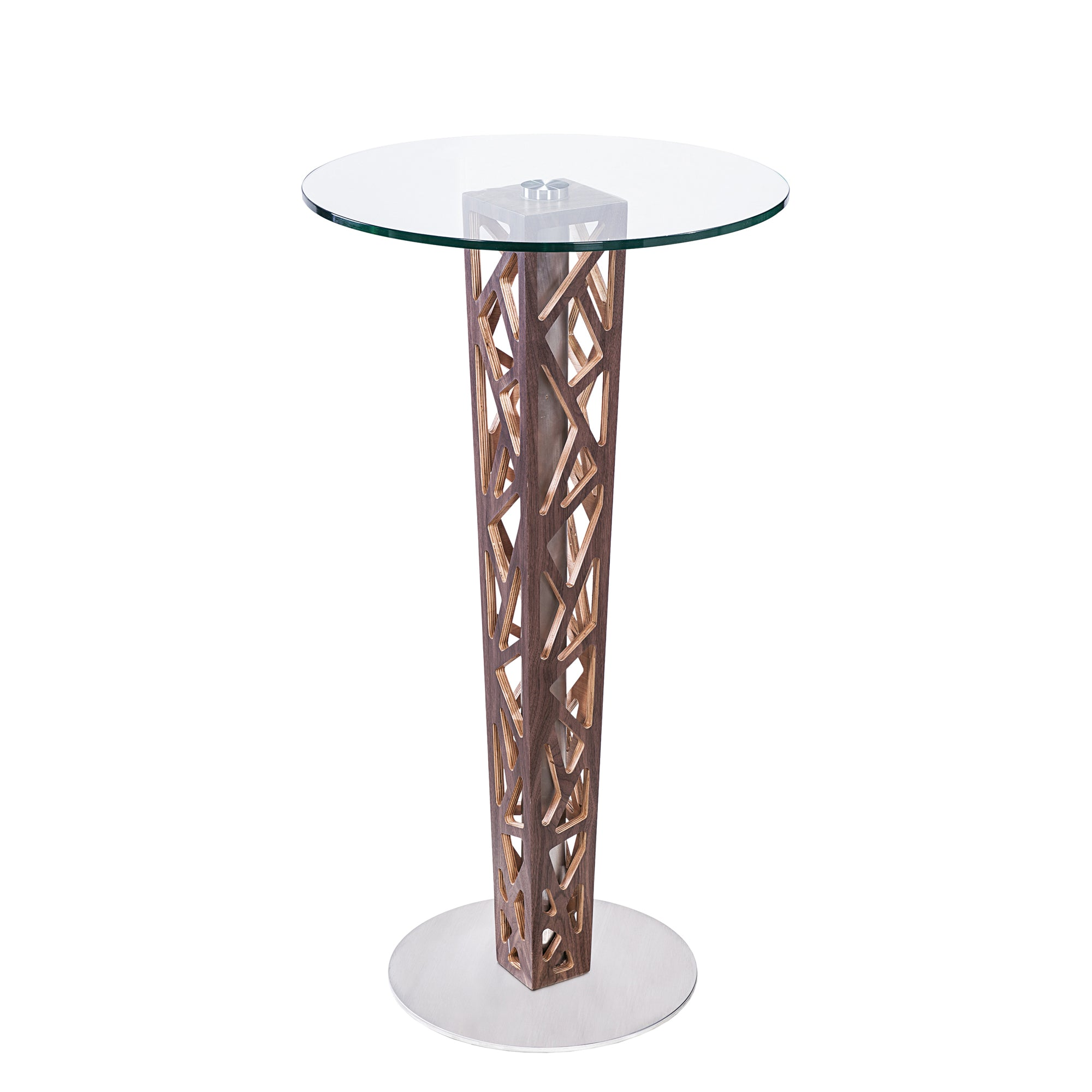 Bar Table Walnut Veneer Column Brushed Stainless Steel