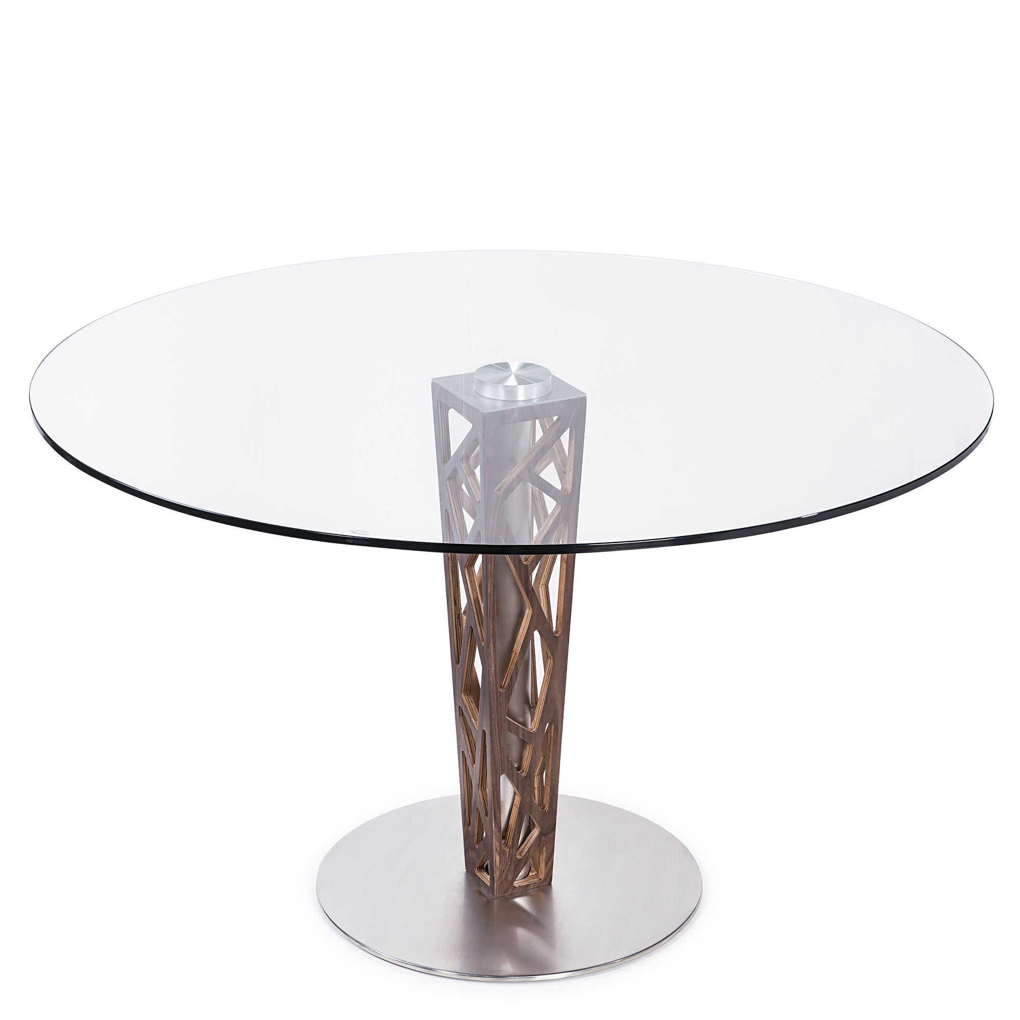 Armen Living Round Dining Table Walnut Veneer Column Brushed Stainless Steel Clear Tempered Glass Top C