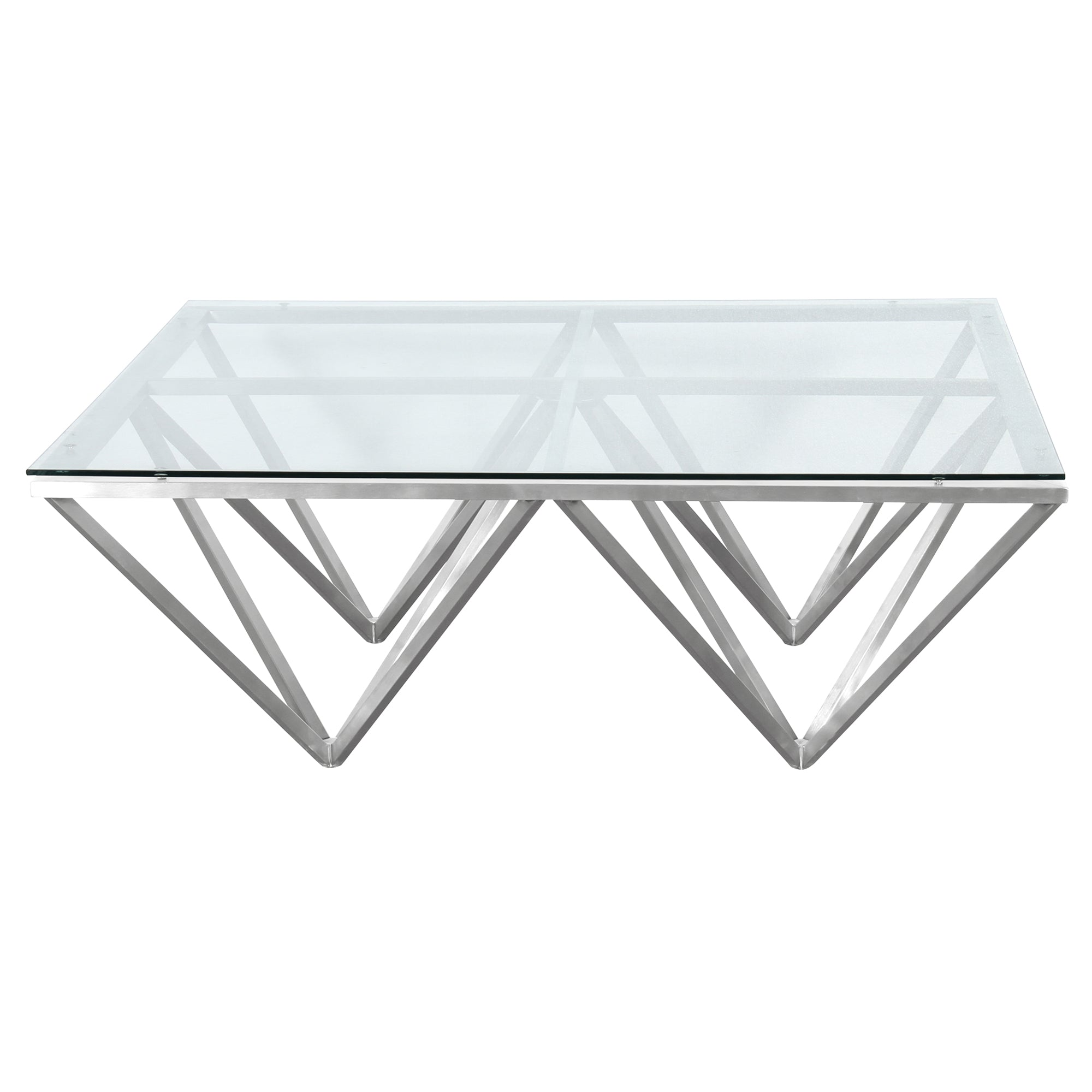 Armen Living Contemporary Rectangular Coffee Table Brushed Stainless Steel Tempered Glass Top Cascade