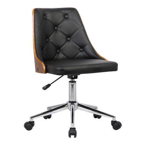 Armen Living LCDIOFCHBLACK Diamond Mid-Century Office Chair in Chrome finish with Tufted Black Faux Leather and Walnut Veneer Back