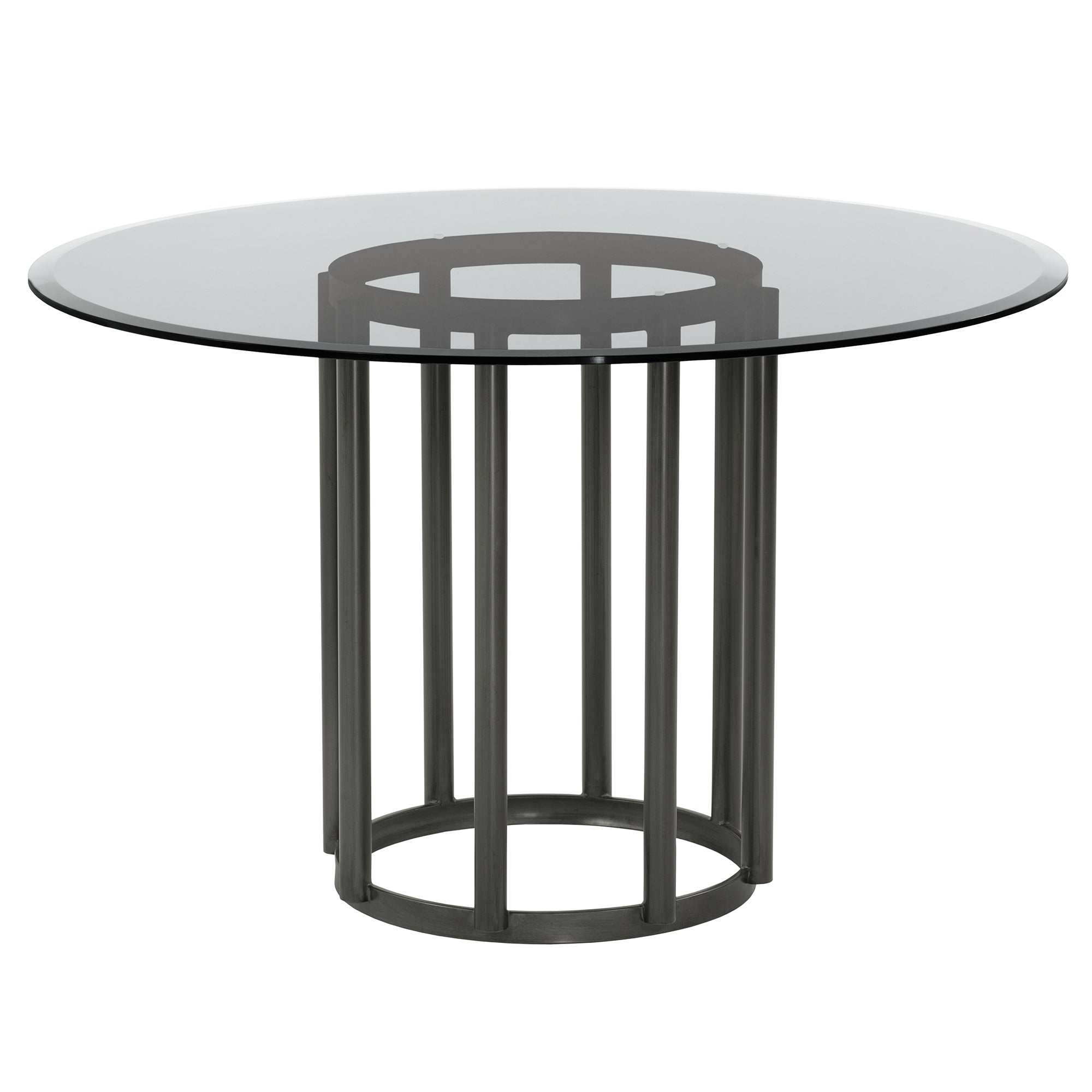 Contemporary | Finish | Clear | Metal | Glass | Round | Table | Live | Dine | Top