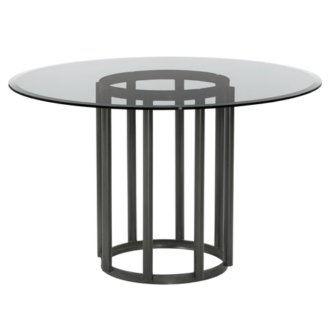 Armen Living LCDNDIMFBS Denis Contemporary Round Metal Dining Table in Mineral Finish with Clear Tempered Glass Top