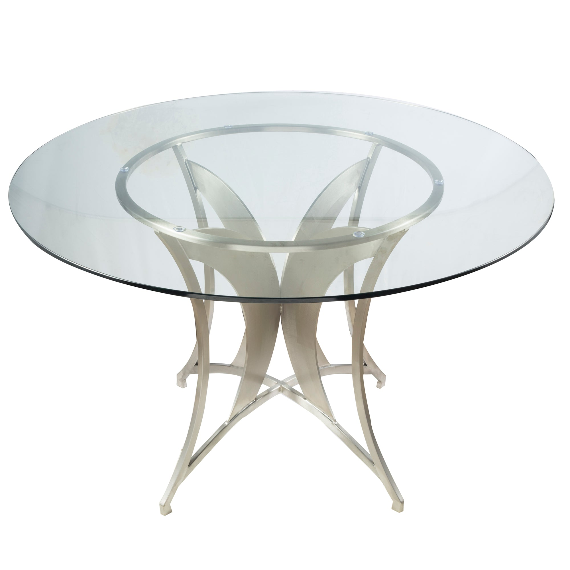 Stainless | Modern | Clear | Steel | Glass | Table | Live | Dine