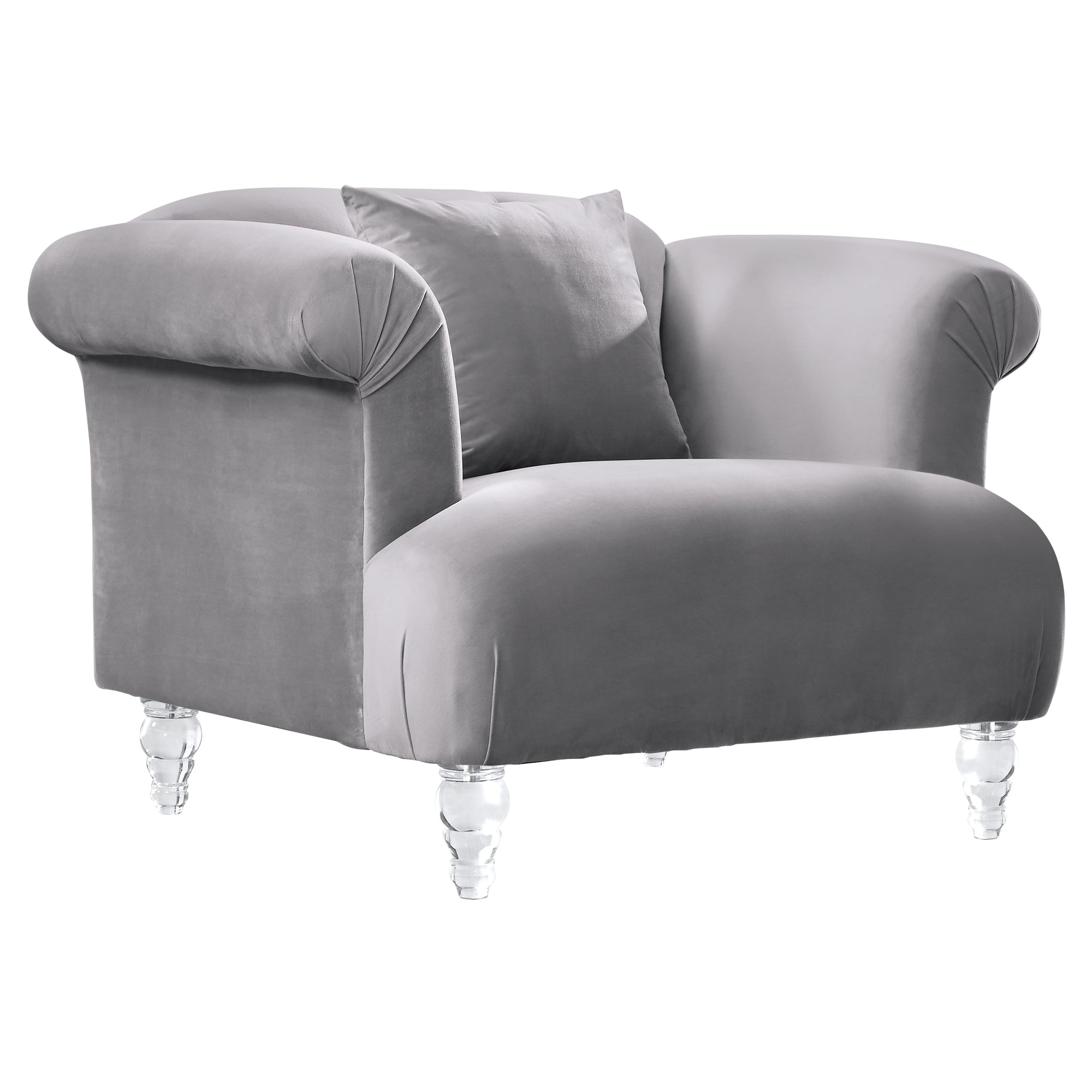 Contemporary Sofa Chair Grey Velvet Acrylic Legs 14915 Product Photo