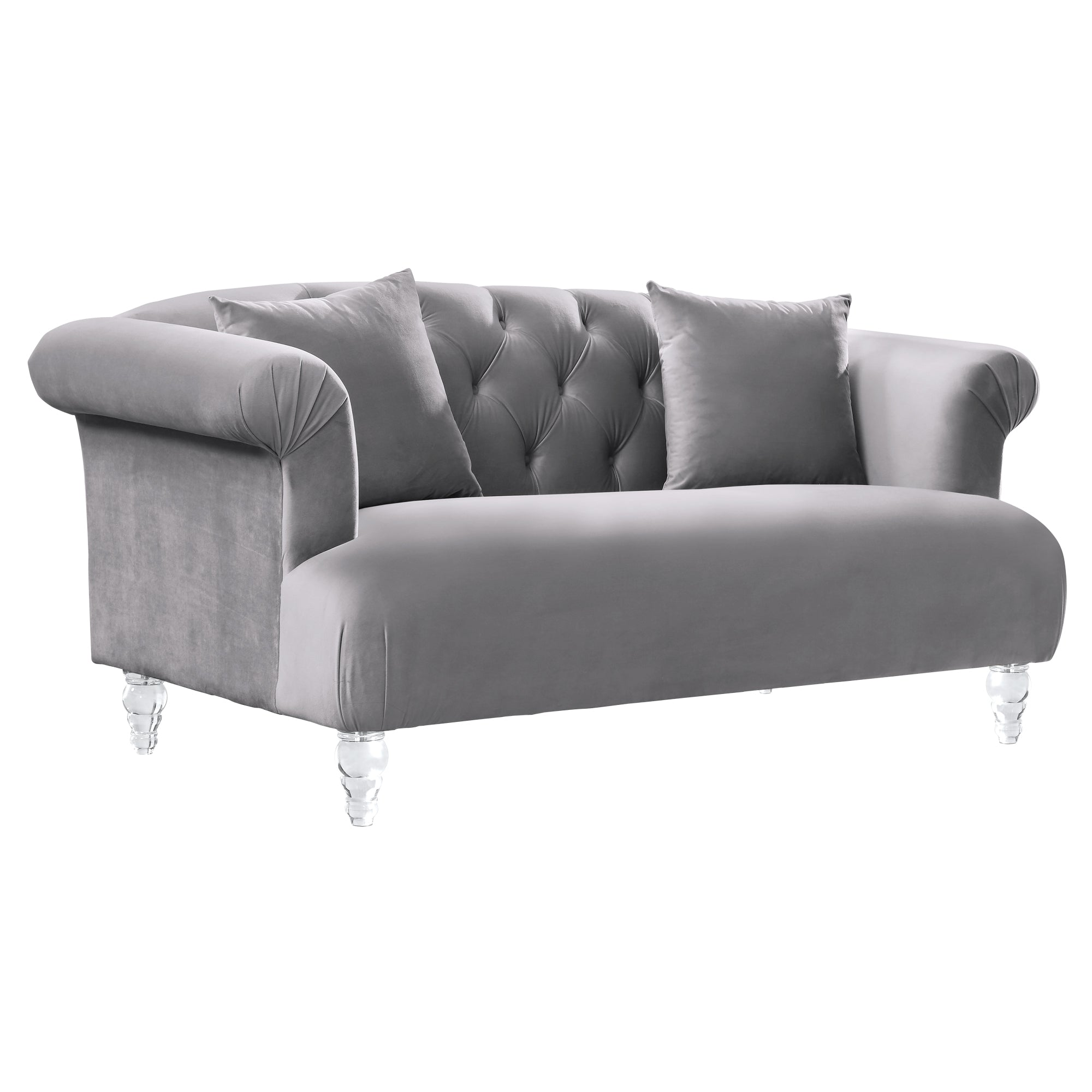 Contemporary Loveseat Grey Velvet Acrylic Legs Elegance
