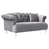 Armen Living LCEG2GR Elegance Contemporary Loveseat in Grey Velvet with Acrylic Legs