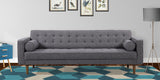 Armen Living LCEL3DG Element Mid-Century Modern Sofa in Dark Gray Linen and Walnut Legs