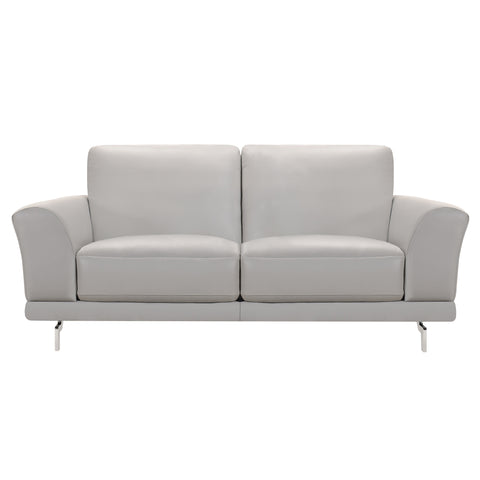 Armen Living LCEV2GR Everly Contemporary Loveseat in Genuine Dove Grey Leather with Brushed Stainless Steel Legs