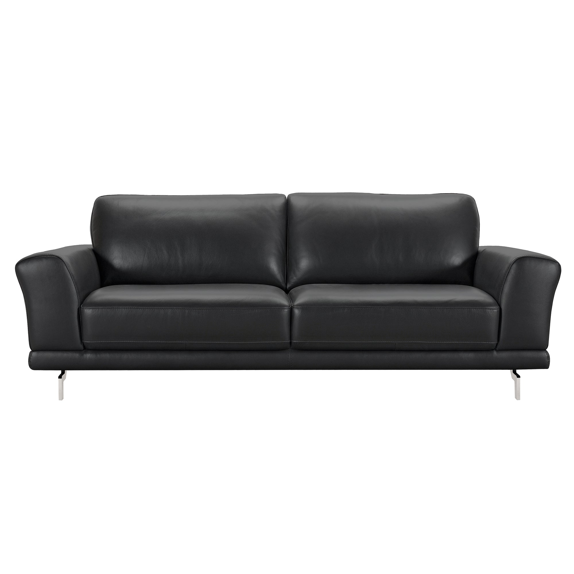 Contemporary Sofa Genuine Black Leather Brushed Stainless 361 Product Photo