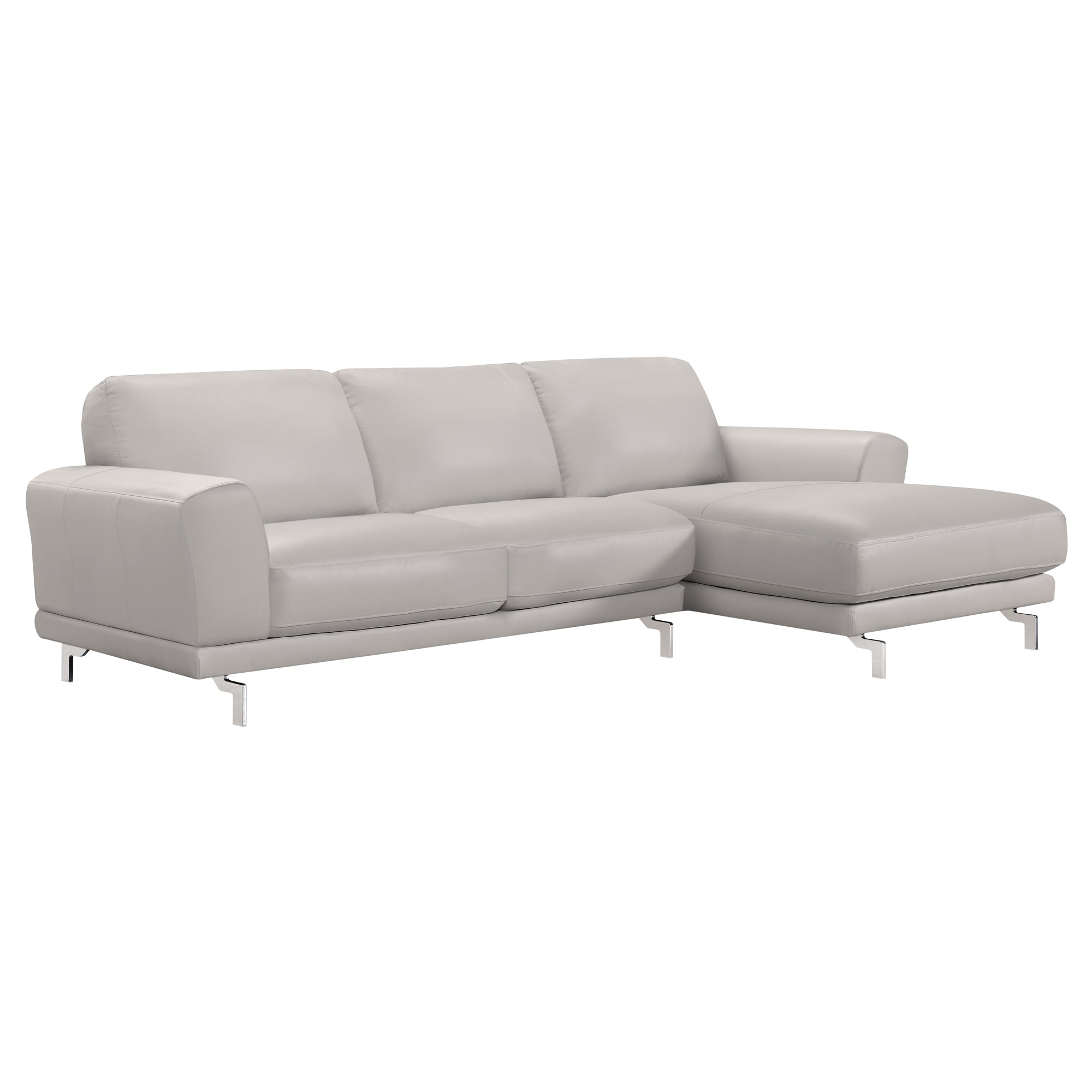 Armen Living Contemporary Sectional Genuine Dove Grey Leather Brushed