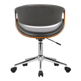 Armen Living LCGEOFCHGREY Geneva Mid-Century Office Chair in Chrome finish with Gray Faux Leather and Walnut Veneer Arms