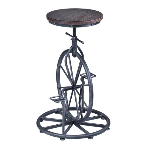 Armen Living LCHASTSBPI Harlem Adjustable Barstool in Industrial Gray finish with Pine Wood seat