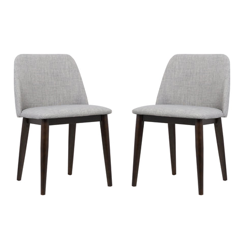 Armen Living LCHOCHGRAY Horizon Contemporary Dining Chair in Light Gray Fabric with Brown Wood Legs - Set of 2