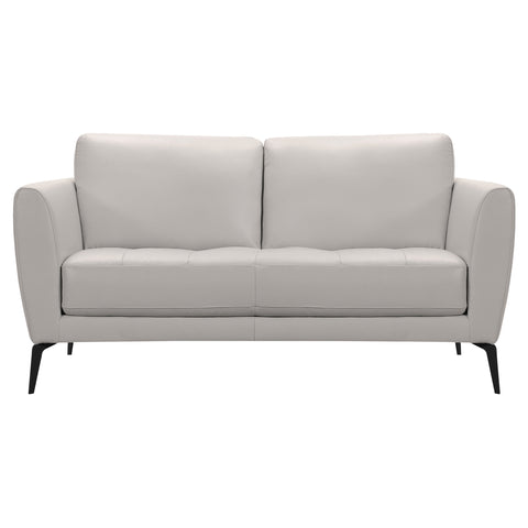 Armen Living LCHP2GR Hope Contemporary Loveseat in Genuine Dove Grey Leather with Black Metal Legs