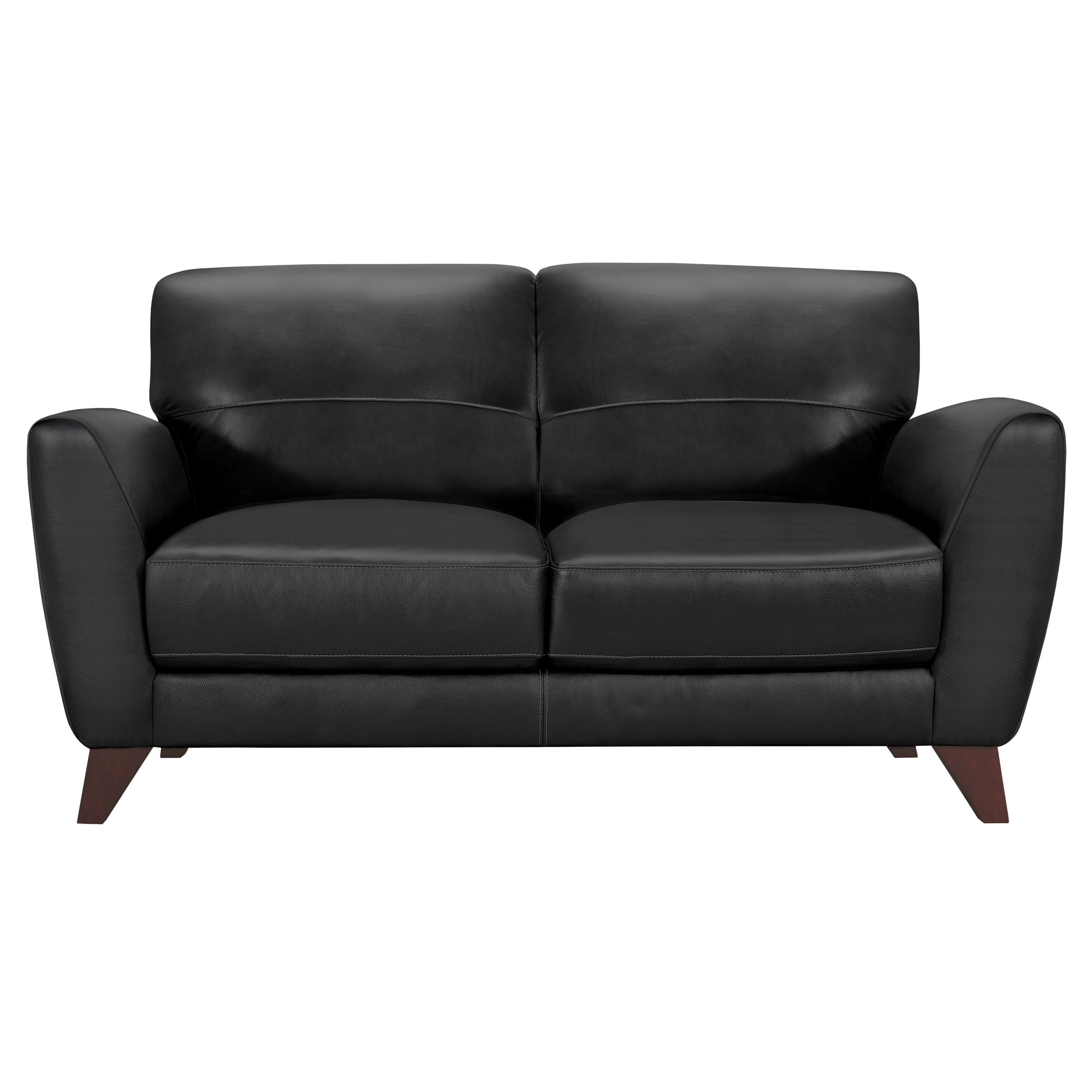 Contemporary Loveseat Genuine Black Leather Brown Wood Legs Jedd